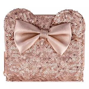 Minnie Mouse Sequined Rose Gold Wallet  Loungefly